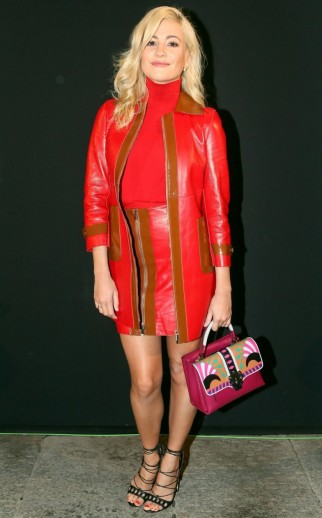 Pixie Lott attended the Blumarine S/S 2016 show at Milan Fashion Week, wearing a red & tan, long leather jacket with matching skirt and carried a hot pink Paula Cademartori Petite Faye handbag. Celebrity style / MFW / outfits  #