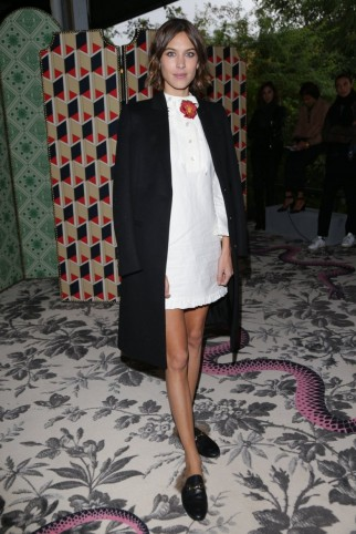 Alexa Chung at Gucci S/S 2016 MFW. Style icons / celebrity outfits / Front Row fashion  #