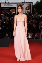 Dakota Johnson in a pale pink, strappy Prada ~ Venice 2015. red carpet gowns ~ celebrity events ~ star style