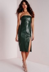 Missguided forest green faux leather strapless midi dress ~ going out glamour ~ evening fashion ~ party dresses ~ clubbing outfits