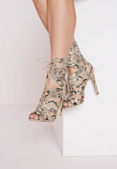Missguided strappy snake print heeled sandals. Animal prints   high heels   cut out style   going out shoes   lace up front