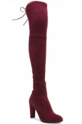 Stuart Weitzman Highland over the knee boots in gorgeous Bordeaux suede. designer fashion – autumn / winter footwear