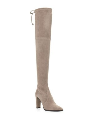 Stuart Weitzman Highland stretch over the knee boot – as worn by Millie Mackintosh heading to the BBC Radio 1 Studios, 22 September 2015. Celebrity fashion | designer boots | what celebrities wear - flipped