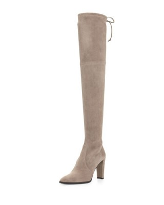 Stuart Weitzman Highland stretch over the knee boot – as worn by Millie Mackintosh heading to the BBC Radio 1 Studios, 22 September 2015. Celebrity fashion | designer boots | what celebrities wear