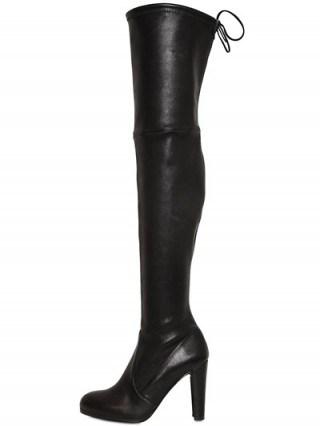 Kourtney Kardashian style at NYFW ~ Stuart Weitzman Highland Stretch Nappa Boots in Black. Over the knee boots | celebrity fashion | autumn ~ winter footwear - flipped