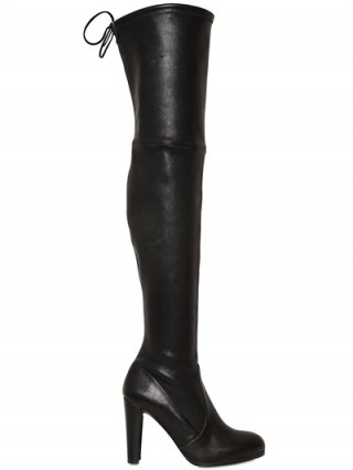 Kourtney Kardashian style at NYFW ~ Stuart Weitzman Highland Stretch Nappa Boots in Black. Over the knee boots | celebrity fashion | autumn ~ winter footwear