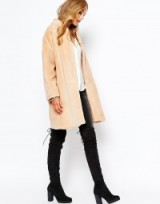 Suncoo Elvie nude faux fur coat. Luxe looks ~ luxury style coats ~ autumn – winter fashion ~ womens outerwear