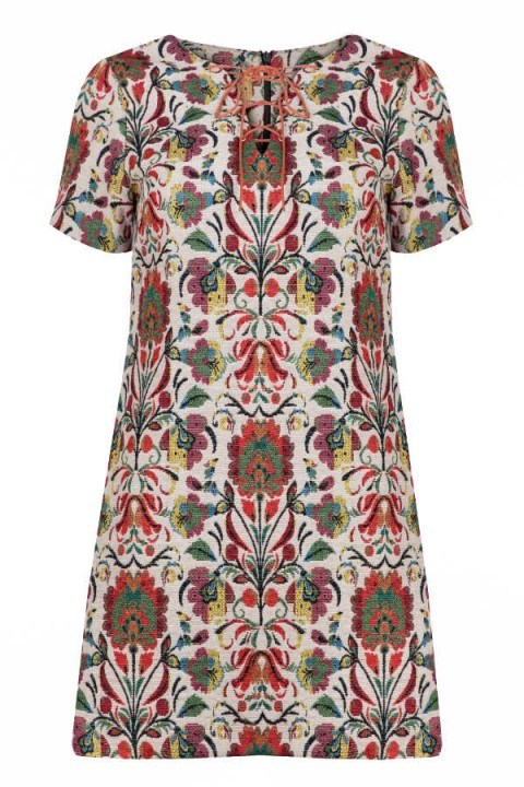 Millie Mackintosh Lace Up Neck Tapestry Dress – as worn by Millie Mackintosh heading to the BBC Radio 1 Studios, 22 September 2015. Celebrity fashion | floral print mini dresses | what celebrities wear - flipped