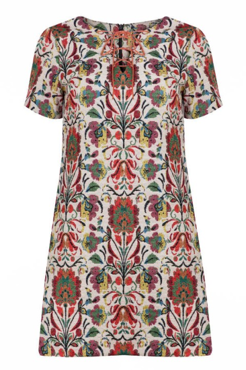Millie Mackintosh Lace Up Neck Tapestry Dress – as worn by Millie Mackintosh heading to the BBC Radio 1 Studios, 22 September 2015. Celebrity fashion | floral print mini dresses | what celebrities wear