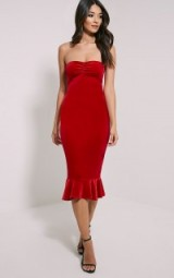 Tawny red velvet bandeau midi dress from prettylittlething.com. party fashion – strapless dresses – evening wear – going out glamour