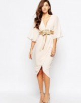 TFNC nude kimono sleeve dress with gold sequin obi belt. Luxe looks ~ evening dresses ~ party fashion ~ going out ~ luxury style