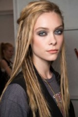 Runway hair & beauty from Nicole Miller S/S 2016 at NYFW ~ smooth, subtle dreadlocks, smoky eyes & coral lips. Catwalk hairstyles & make up ~ spring trends ~ models at work