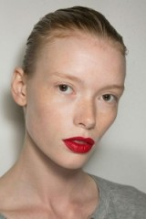 Runway hair & beauty from Jason Wu S/S 2016 at NYFW ~ slicked back hair, bare face & eyes, only bright red lips. Catwalk makeup ~ spring trends ~ models at work