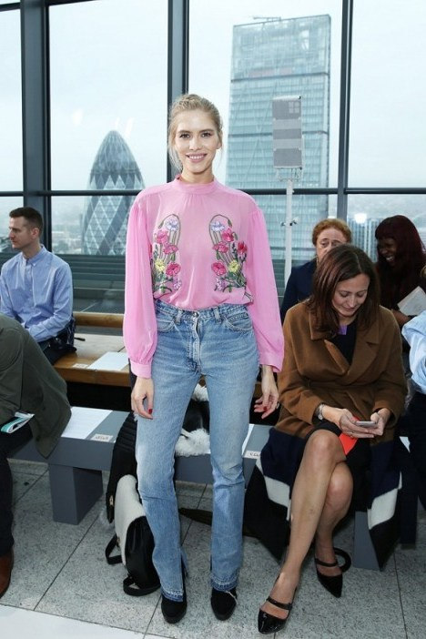 Russian supermodel Elena Perminova Front Row at Christopher Kane S/S 2016 LFW. Celebrity style / celebrities at London Fashion Week  # - flipped