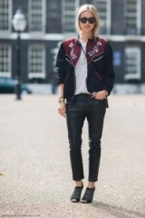 Street style…floral embroidered bomber jacket, marl tee & black leather pants. Casual jackets | style inspiration | weekend chic