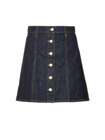 ALEXA CHUNG FOR AG The Kety denim A-line mini skirt. Dark blue denim skirts | 70s style | designer fashion - flipped