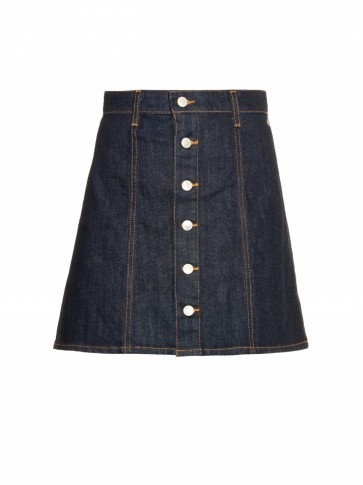 ALEXA CHUNG FOR AG The Kety denim A-line mini skirt. Dark blue denim skirts | 70s style | designer fashion