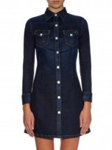 ALEXA CHUNG FOR AG The Pixie denim dress. Designer clothing | shirt style dresses | womens casual fashion | dark blue denim