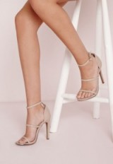Missguided nude three strap barely there sandals. Going out high heels | party shoes | evening accessories | strappy style footwear