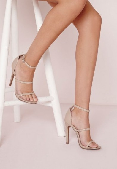 Missguided nude three strap barely there sandals. Going out high heels | party shoes | evening accessories | strappy style footwear - flipped