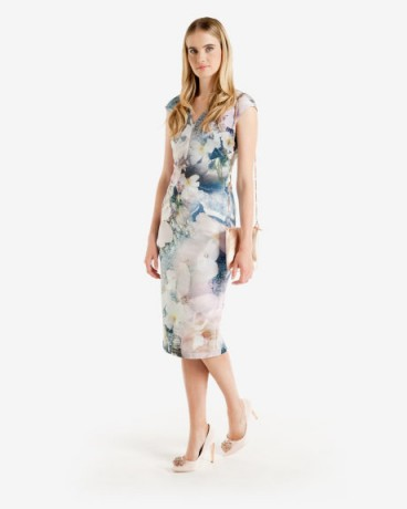 Ted Baker AMILY Tile Floral Geo Midi Dress – as worn by Susanna Reid on Good Morning Britain, 22 September 2015. Celebrity fashion | flower print dresses | what celebrities wear