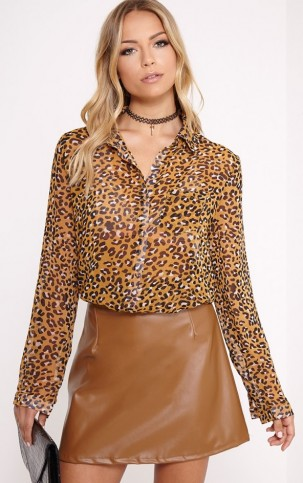 Pretty Little Thing – Tina mustard leopard print blouse. Animal prints | womens fashion | blouses | shirts