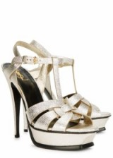 These are gorgeous, perfect for parties!…Saint Laurent Tribute light gold platform sandals. Designer shoes / luxe accessories / occasion footwear / t-bar high heels / 70s style platforms