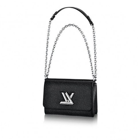 Louis Vuitton Twist MM shoulder bag in black – as worn by Selena Gomez at Kiss FM Studios in London, 23 September 2015. Celebrity fashion | star style | what celebrities wear | designer handbags | luxury bags - flipped