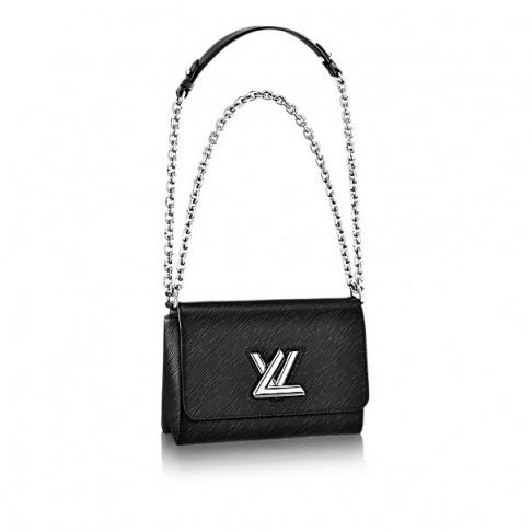 Louis Vuitton Twist MM shoulder bag in black – as worn by Selena Gomez at Kiss FM Studios in London, 23 September 2015. Celebrity fashion | star style | what celebrities wear | designer handbags | luxury bags