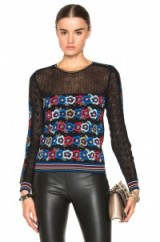Valentino floral jacquard sweater in black. Designer knitwear | womens autumn – winter fashion | fine knitted jumpers