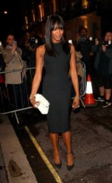Naomi Campbell looked elegant in a LBD attending the Victoria Beckham dinner at the end of LFW S/S 2016.