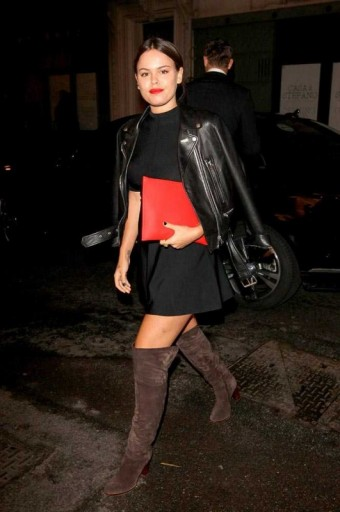 Atlanta De Cadenet at the Victoria Beckham dinner at the end of LFW S/S 2016, wearing a LBD, black leather jacket, taupe over the knee boots and carrying a red envelope clutch. Celebrity style | fashion events | outfits