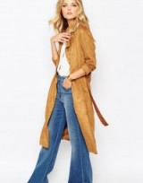 Casual luxe – suedette longline belted jacket. Luxury looks / autumn coats & jackets
