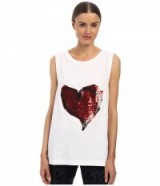 Vivienne Westwood Anglomania Soley sequin heart vest – as worn by Gwen Stefani out in Los Angeles, 27 September 2015. Casual celebrity fashion | star style | designer tanks | womens tops | what celebrities wear  #