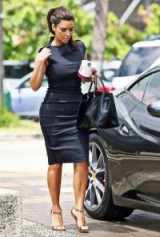 Kim Kardashian chic in a cap sleeve pencil dress. Celebrity fashion | star style | kardashian's outfits