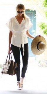 Casual chic…white kimono style wrap top, dark skinny jeans, stripe ankle tie espadrilles & a wide brim straw hat. Street style | fashion inspiration | weekend outfit ideas | outfits