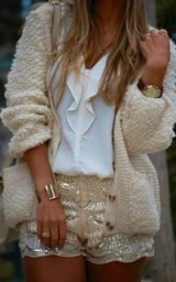 Cream, white & gold sequins. Luxe looks | luxury style outfits