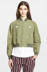 Yigal Azrouël khaki cut out bomber jacket. Casual style | weekend fashion | designer jackets