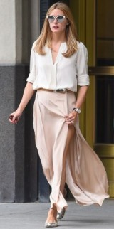 Olivia Palermo in a nude pink maxi shirt and white shirt. style icons ~ street fashion