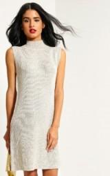 Pretty Little Thing Zedanya beige metallic knitted dress. Going out fashion | sleeveless shift dresses | womens knitwear