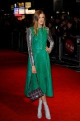 Agyness Deyn wearing green leather and sequins, attends the 'Sunset Song' Premiere at the BFI London Film Festival, Leicester Square, London 15 October 2015. Celebrity fashion | red carpet outfits | film premieres