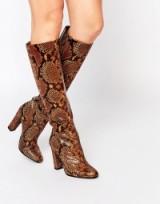 ALDO Etassi Snake Effect Leather Heeled Knee Boots. Animal prints – knee high boots – high heeled footwear – winter fashion
