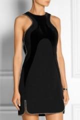 ALEXANDER WANG Velvet-paneled embellished wool dress – as worn by Kylie Jenner, 27 October 2015. Celebrity fashion | star style | designer mini dresses | what celebrities wear