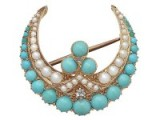 Victorian turquoise, pearl and diamond, 15ct yellow gold crescent brooch. Antique brooches – jewellery