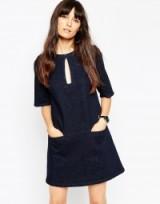 ASOS Denim Shift Dress With Keyhole In Indigo. Dark blue denim | day dresses
