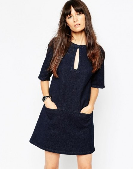 ASOS Denim Shift Dress With Keyhole In Indigo. Dark blue denim | day dresses - flipped