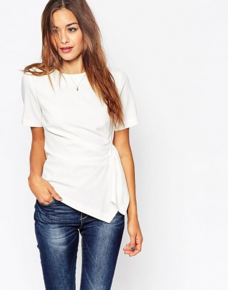Asos origami t shirt in crepe in ivory wrap style tops for Wrap style t shirts
