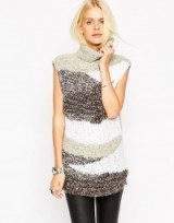 Luxe style knitwear…ASOS Sleeveless Tunic in Boucle with High Neck. Luxury looks ~ knitted tunics ~ womens winter tops ~ grey & white jumpers