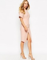 ASOS Structured Split Front Wiggle nude. fitted dresses – asymmetric hemline – smart day to evening wear