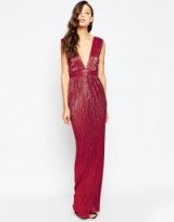 ASOS TALL Plunge Pleat Column Maxi in red. Plunging necklines | deep V neckline | low cut evening dresses | occasion gowns